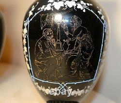 Pair of 2 antique handmade Bohemian enameled black amethyst glass etched vases