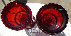 Pair of Antique Victorian Ruby Glass Mantel Lustres Double Row Drops 14 tall