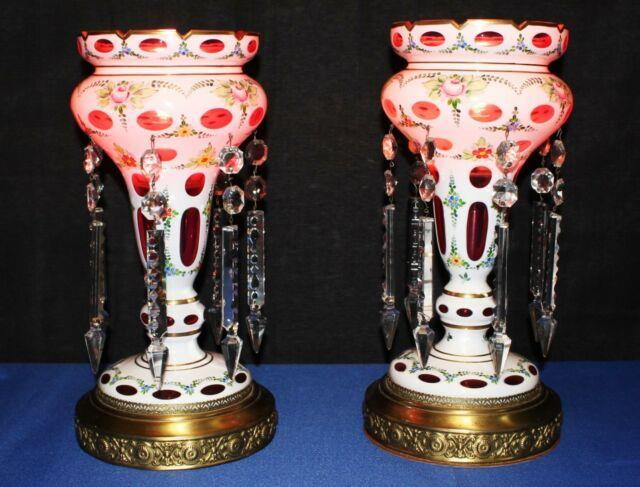 Pair Of Bohemian Cranberry Cased Glass Luster Lamps With Crystal Spear Prisms