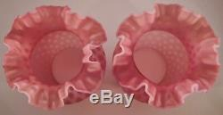 Pair of Fenton Art Glass Cranberry Opalescent Coin Dot Lamps with Matching Shades