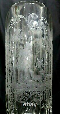 Pair of Large Hand Made Victorian Bohemian Moser Cut Glass Cups With Sceneries