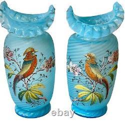 Pair of Vases Stevens Williams Antique Victorian Art Glass Enamel Coralene Blue