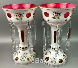 Pair of Victorian White over Cranberry Pink Crystal Bohemian Mantle 12 Lusters