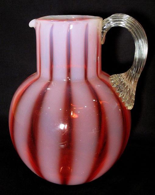 Phoenix Glass Cranberry Opalescent Wide Stripe Water Pitcher Jug