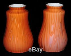 Pr pendant Lamp SHADES, art glass MOP moire, satin, apricot, Victorian, c1870
