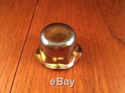 Quezal Purple & Gold Iridescent Art Glass Master Salt Cellar Favrile Bowl