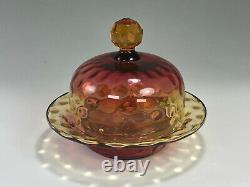 RARE Amberina THREE PIECE Covered Butter or Cheese Dish