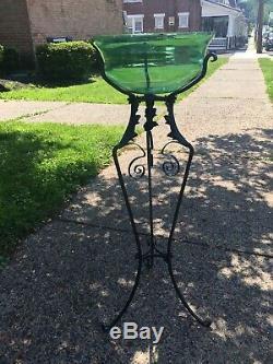 RARE Art Nouveau Victorian Green Uranium Blown Glass Fish Bowl with Iron Stand