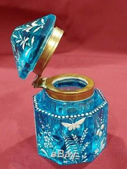 RARE GORGEOUS 1880s ICE BLUE ART GLASS MARY GREGORY INK WELL BIRDS FLOWERS AQUA