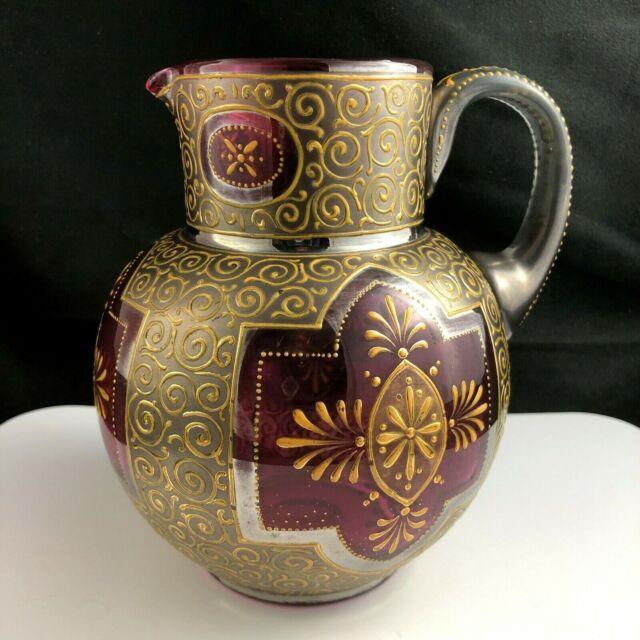 Rare Moser Cranberry Art Glass Gold Platinum Enamel 6 1/4 Pitcher C. 1885