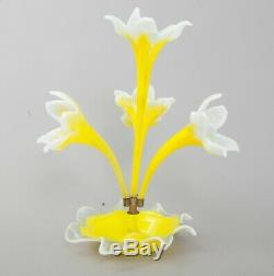 RARE Victorian Blown Art Glass Flower Center Piece YellowithWhite Daffodil Epergne