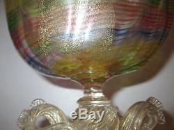 RARE c1895 SALVIATI BAROVIER TOSO RAINBOW VENETIAN DOLPHIN SERPENT GLASS VASE
