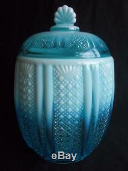 RD 96945 Davidson Richelieu Opalescent Blue Pearline Glass Biscuit Barrel