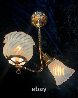 RESTORED Antique Victorian Ceiling Gas/Electric Pendant Light & Art Glass Shades