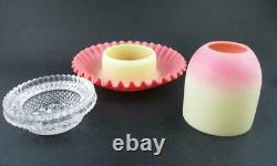 REVERSIBLE antique WEBB 3pc BURMESE art glass FAIRY LAMP- Signed CLARKE's