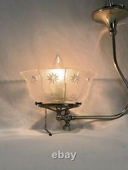 REWIRED Antique Victorian Art Deco Gasolier Chandelier Ceiling Light Glass Shade