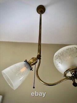 REWIRED Victorian Art Deco Gasolier Chandelier Ceiling Light Glass Shade