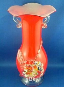Rare 1880+ Victorian STEVENS & WILLIAMS England Art Glass Vase Splatter Flower