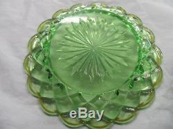 Rare Antique Baccarat Victorian Plates 6 Green & Gold Vaseline Glass Signed