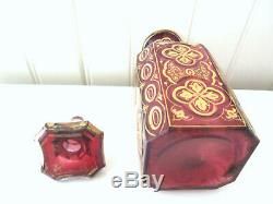 Rare Antique Moser Ruby and Gold Cut Glass Decanter