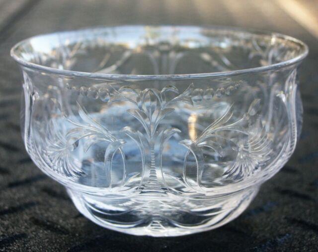 Rare Antique Set 6 Signed Thomas Webb Rock Crystal Etched Finger/dessert Bowls