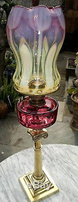 Rare Antique Victorian Art Nouveau Vaseline & Cranberry Glass Oil Lamp Art Glass