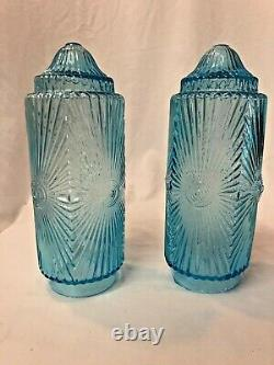 Rare Blue Glass Cylinder Lamp Shade Sconce Art Deco Victorian Pair 9