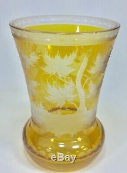 Rare Early Victorian Amber Bohemian Glass Beaker With Stag Deer ca. 1835