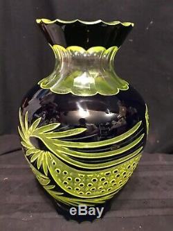 Rare Fine Bohemian Glass 2 Color Amber/yellow&black To Clear 11 Cut Vase 19th C