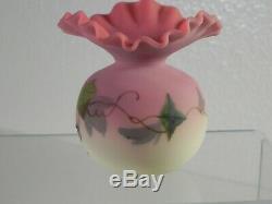Rare Form Tiny Webb Burmese Satin Art Glass Vase Ivy Decoration 3-1/2 EXC COND