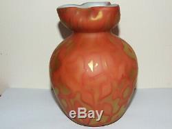 Rare Harrach Satin Glass Cased Vase Rose Pattern c1890
