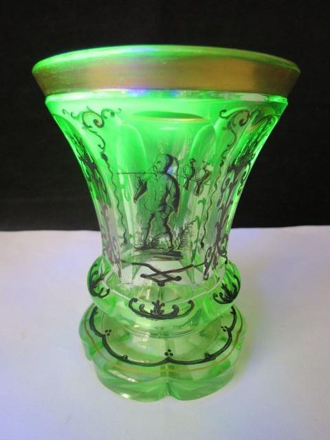 Rare Mid Victorian Hand Painted Bohemian Gilt Uranium Glass Beaker / Tumbler
