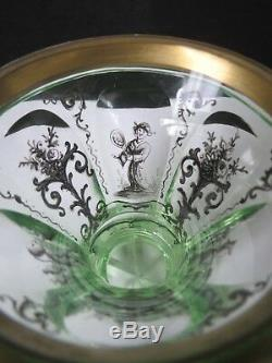 Rare Mid Victorian Hand Painted Oriental Figures Bohemian Uranium Glass Vase