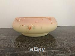 Rare Mt Washington decorated Burmese Victorian glass bowl