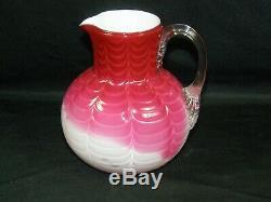 Rare Phoenix Art Glass C. 1880's Victorian Cranberry Opalescent Pitcher 5