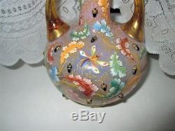 Rare Pink Moser Glass 9 Vase Bird Insects Oak Leaves Acorns Enamelled Bohemian