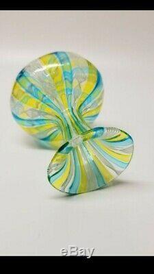 Rare Salviati Venetian Uraninum UV Vaseline Art Glass Vase Murano Victorian
