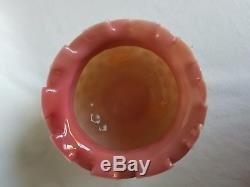 Rare Stevens & Williams Opaque Uranium Glass Amber Footed Hobnail Ruffled Vase