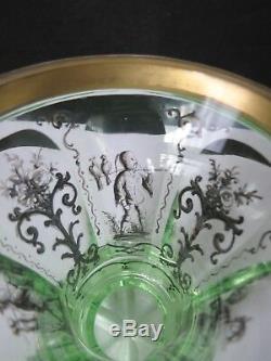 Rare Unusual Mid Victorian Hand Painted Bohemian Gilt Uranium Glass Vase