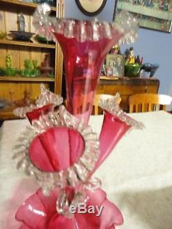 Rare Victorian Cranberry Glass Four Horn Epergne (Pern)