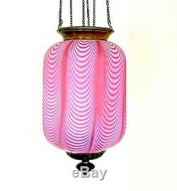 Rare Victorian Cranberry Opalescent Nailsea Art Glass Hanging Hall Lamp
