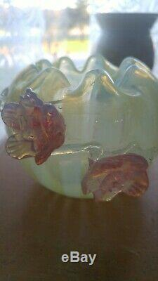 Rare Victorian English Vaseline Pink Opalescent Stripe Thorn Basket Bottle Vase