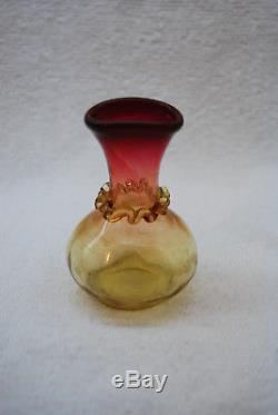 Rare Victorian New England Glass Fuchsia Amberina Tiny Cabinet Vase 1880's