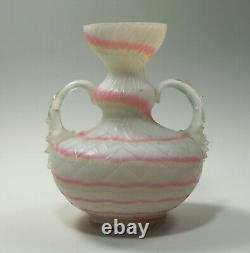 Rare Victorian Rainbow Mother of Pearl Satin Glass Handled Vase