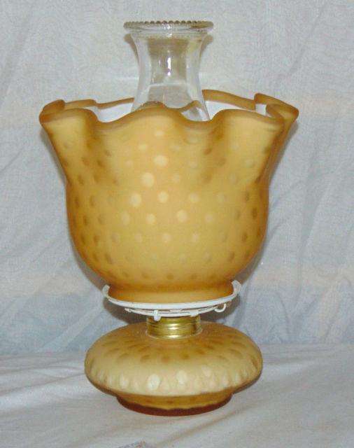 Rare Vintage Fenton Yellow Opaline Victorian Polka Dot Art Glass Lamp