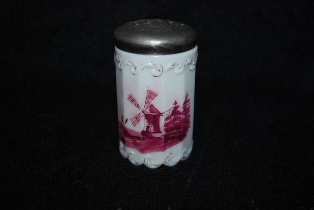 Really Scarce Victorian Mt Washington Red Delft 12 Panel Salt Shaker 1880's