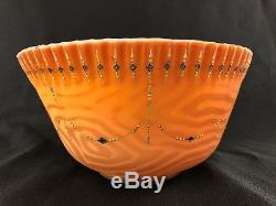 Reed Barton Victorian Orange Art Glass Brides Basket, Ruffle Boarder, Faux wood
