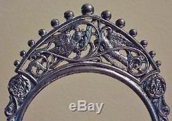 Ruby Red Pickle Castor Cut to Clear Roses Silverplate Stand Tongs Birds Grapes