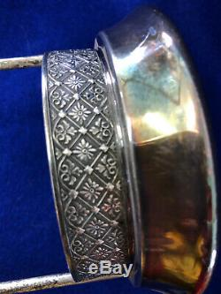 S18 Antique Pickle Castor With Tongs Thumb Print Cranberry Glass Tufts Frame