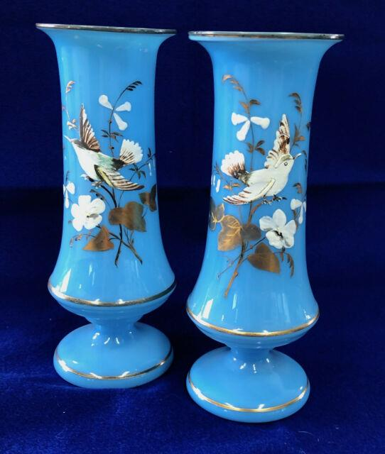 S21 Pair Antique Victorian Bristol Enamel & Painted Bird & Flowers Blue Vases